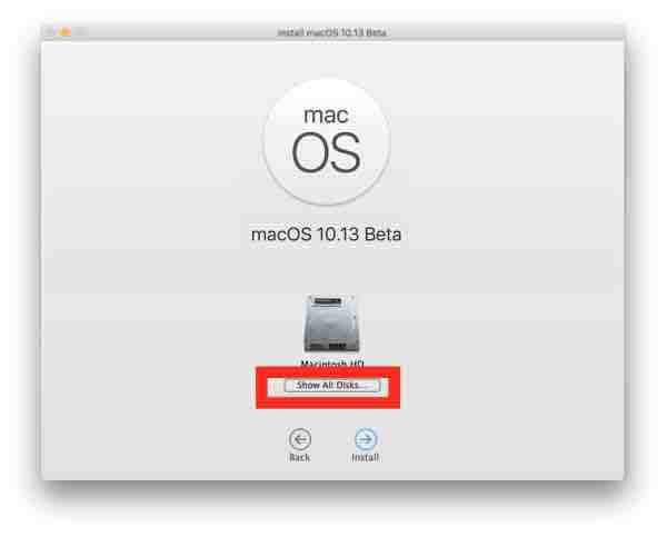 Scegliere Mostra tutti i dischi per selezionare la partizione MacOS High Sierra da installare