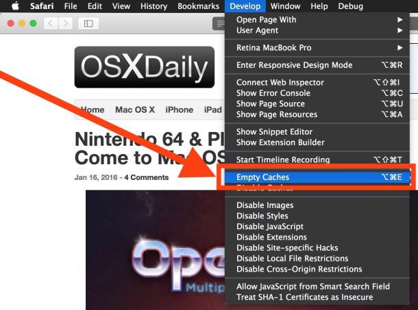 Cancella cache in Safari per Mac OS X con opzione Cache vuota nel menu Sviluppatore
