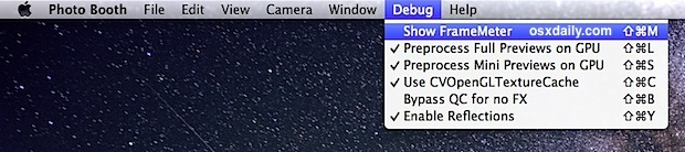Menu debug di Photo Booth in Mac OS X