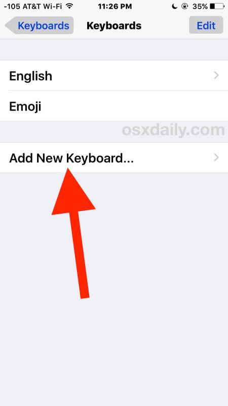 Aggiungi nuova tastiera iOS