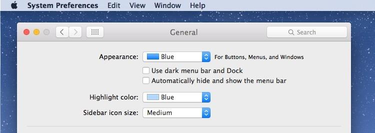 Disattivazione della modalità scura in OS X per il colore della modalità luce predefinito