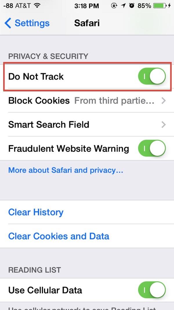 Abilitare Do Not Track in Safari per iOS
