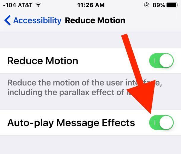 Riduci il movimento con gli effetti dei messaggi abilitati