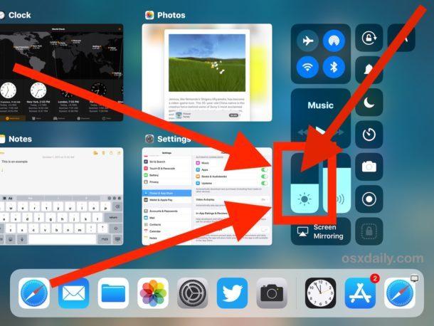 Tocca e tieni premuto su Luminosità per visualizzare Night Shift in iOS 11