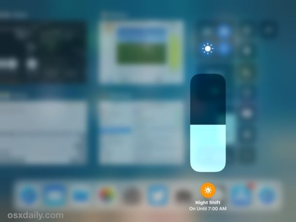 Night Shift abilitato nel Centro di controllo iOS 11