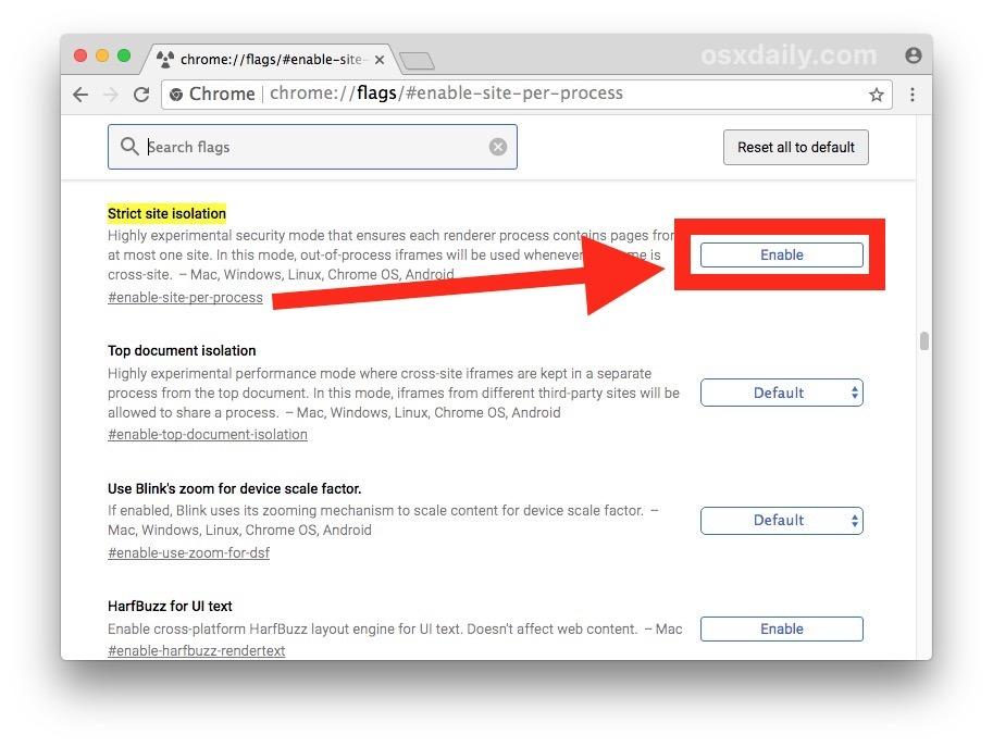Abilita l'isolamento rigoroso del sito in Chrome