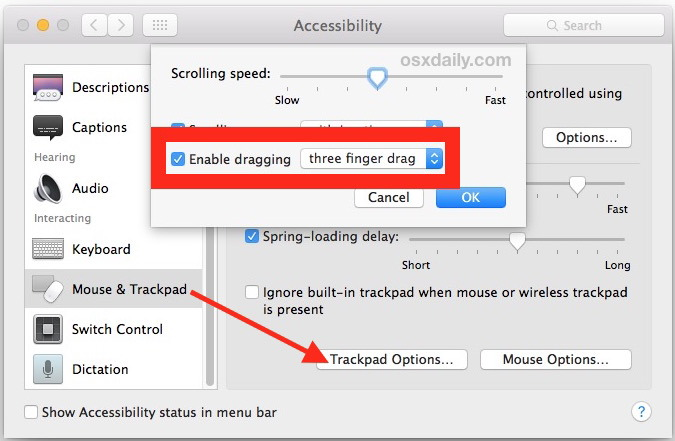 Abilita il gesto di trascinamento con tre dita nel trackpad di Mac OS X.