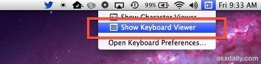 Mostra la tastiera virtuale su un Mac