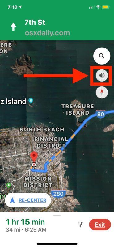 Il pulsante di navigazione vocale in Google Maps per iPhone
