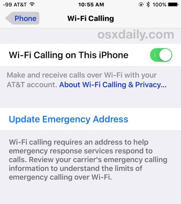 Abilita chiamate Wi-Fi su iPhone