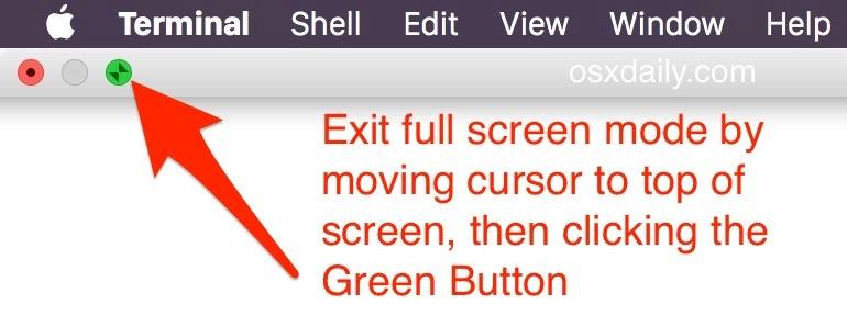 Esci dalla modalità a schermo intero in Mac OS X.