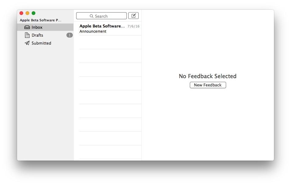 Crea un nuovo feedback o segnalazione di bug per macOS Sierra