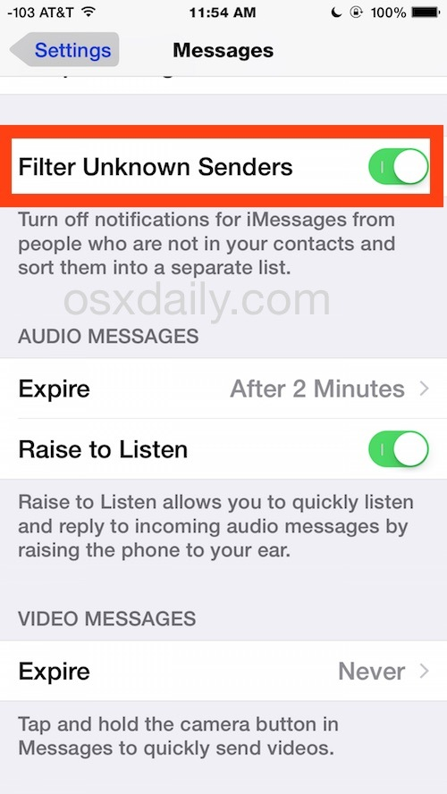 Filtra mittenti sconosciuti in iOS in una diversa posta in arrivo dell'app Messaggi