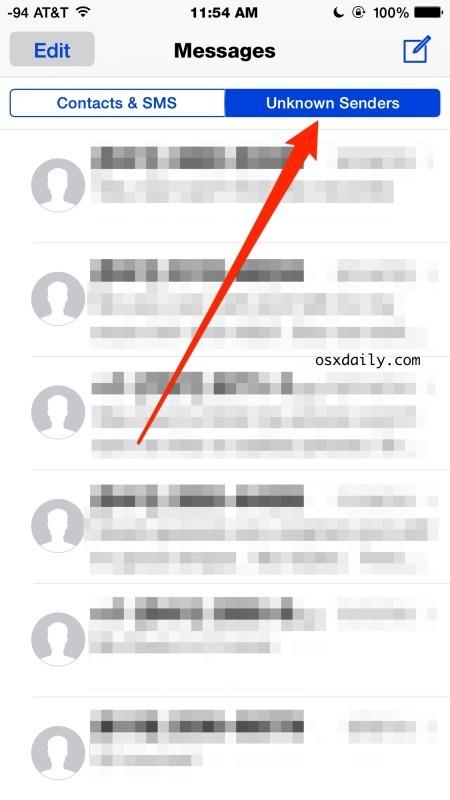 Casella di messaggio dei mittenti sconosciuti in iOS, filtrata dai Contatti