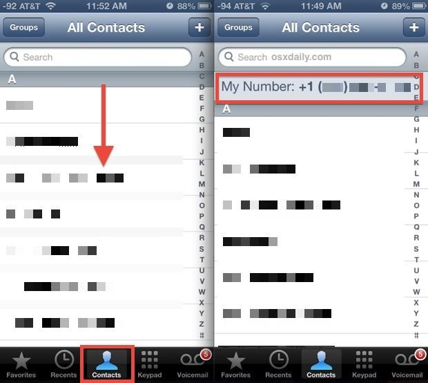 Mostra il mio numero di telefono dell'iPhone