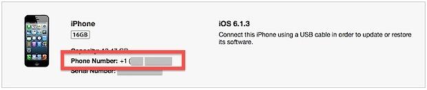 Numero di telefono iPhone mostrato in iTunes