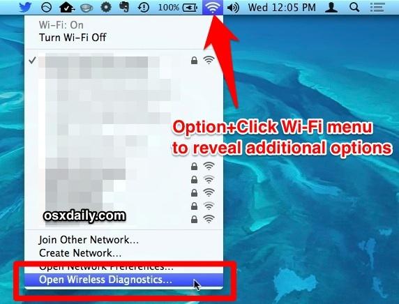 Opzione: fare clic sul menu Wi-Fi per accedere allo strumento Diagnostica wireless in Mac OS X.