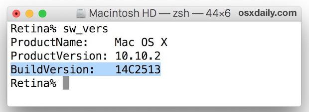 Trova il numero di build di Mac OS X dalla riga di comando con sw_vers
