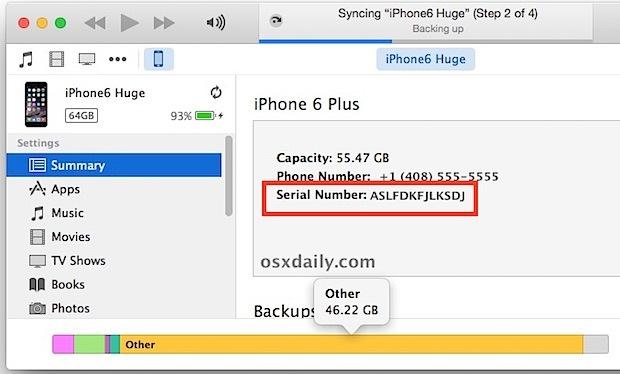 Trovare un numero di serie iPhone da iTunes