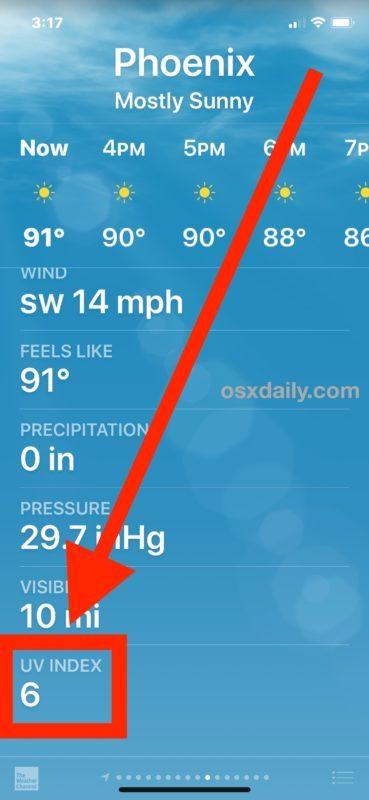 Come controllare l'indice UV su iPhone