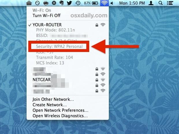 Vedi il tipo di router connesso di sicurezza Wi-Fi di Mac OS X