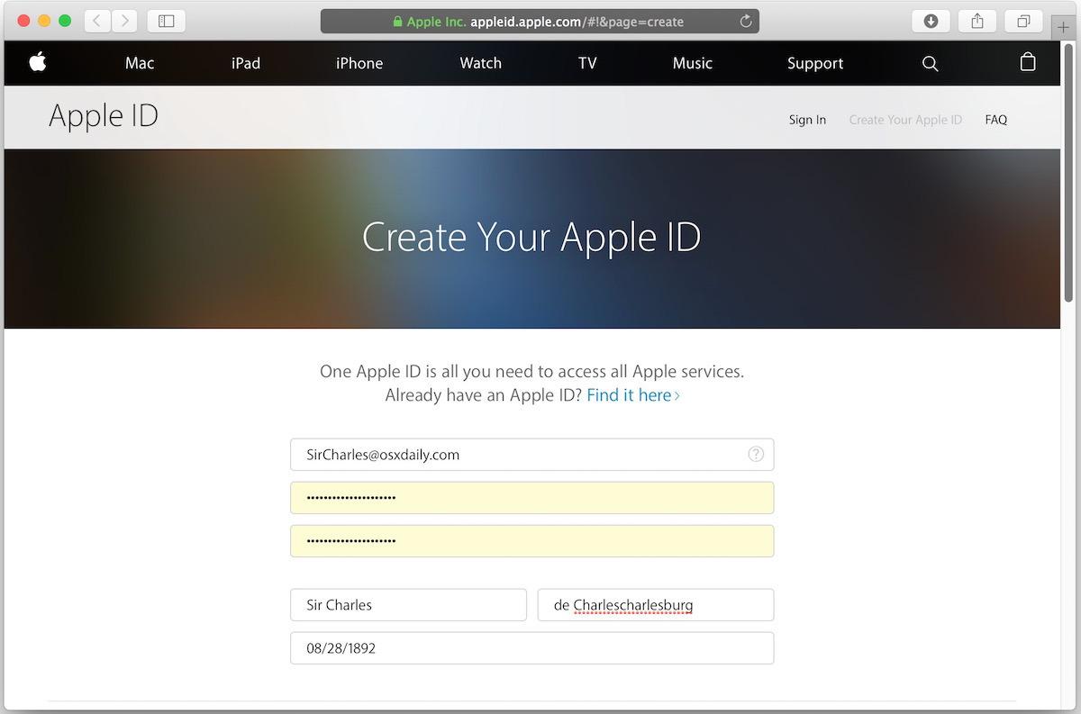 Crea un nuovo ID Apple per correggere errori non idonei