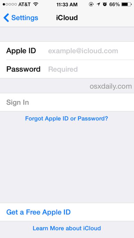 Accedi a iCloud