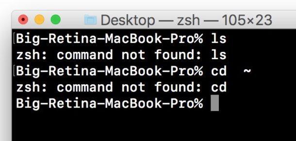 comando non trovato Terminale di errore Mac