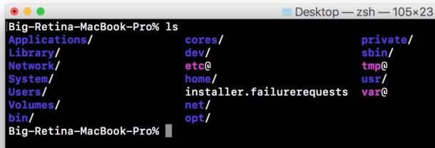 Comando funzionante nel terminale Mac come previsto