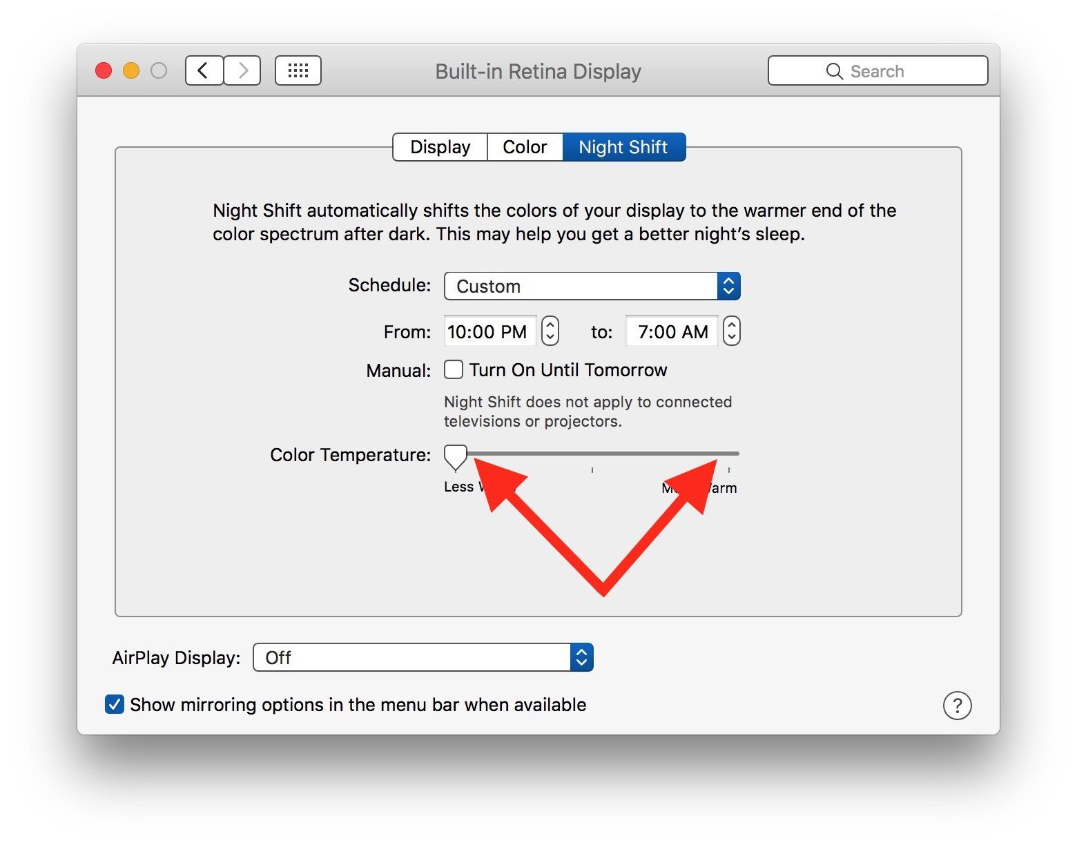 Spostare avanti e indietro il cursore di scorrimento della notte per fissare Night Shift bloccato su Mac