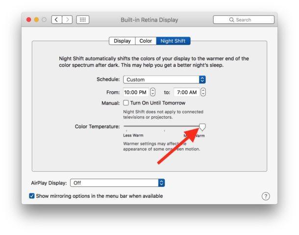 Imposta il colore per scaldare su Night Shift dopo averlo bloccato dall'essere bloccato su Mac