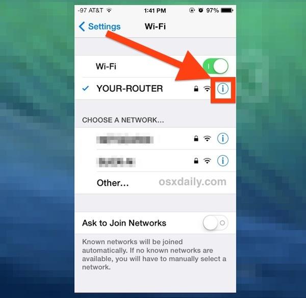 Ottieni maggiori informazioni sulla rete Wi-Fi