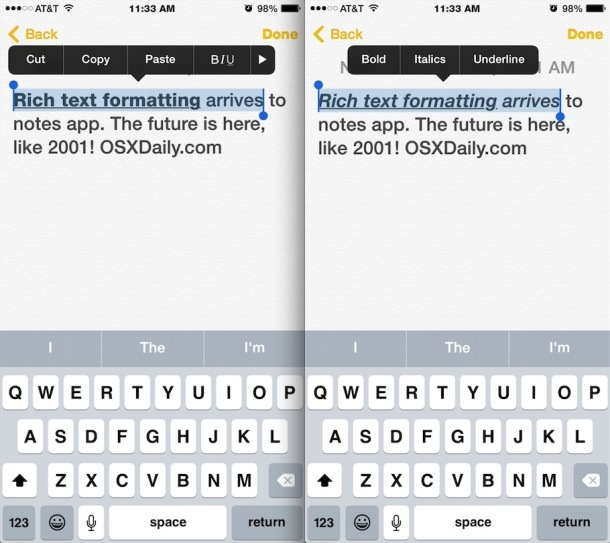 Applicazione della formattazione del testo all'app Notes