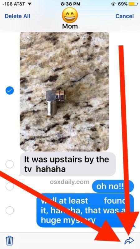 Tocca il pulsante freccia avanti per inoltrare il messaggio fotografico in iOS