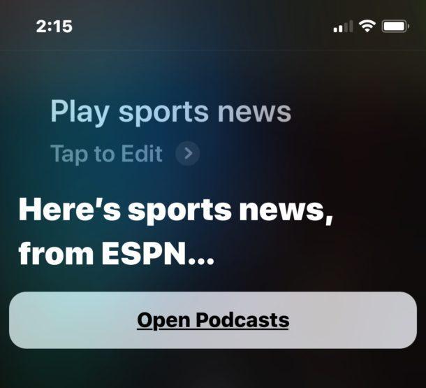 Gioca a notizie sportive da Siri