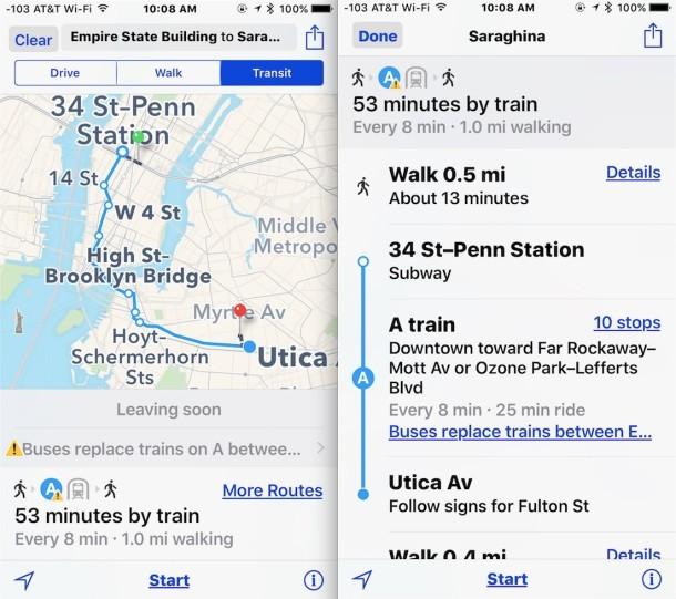 Ottieni indicazioni di trasporto su iOS Maps