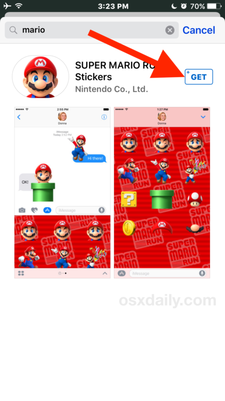 Scarica il pacchetto di adesivi o l'app in Messaggi
