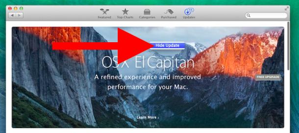 Nascondi l'aggiornamento di OS X El Capitan dal Mac App Store