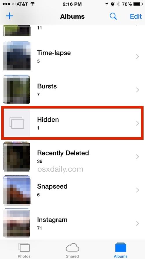 Foto nascoste negli album iOS