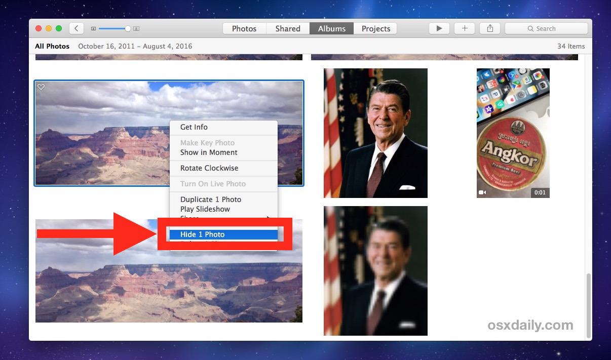 Come nascondere le foto su Mac