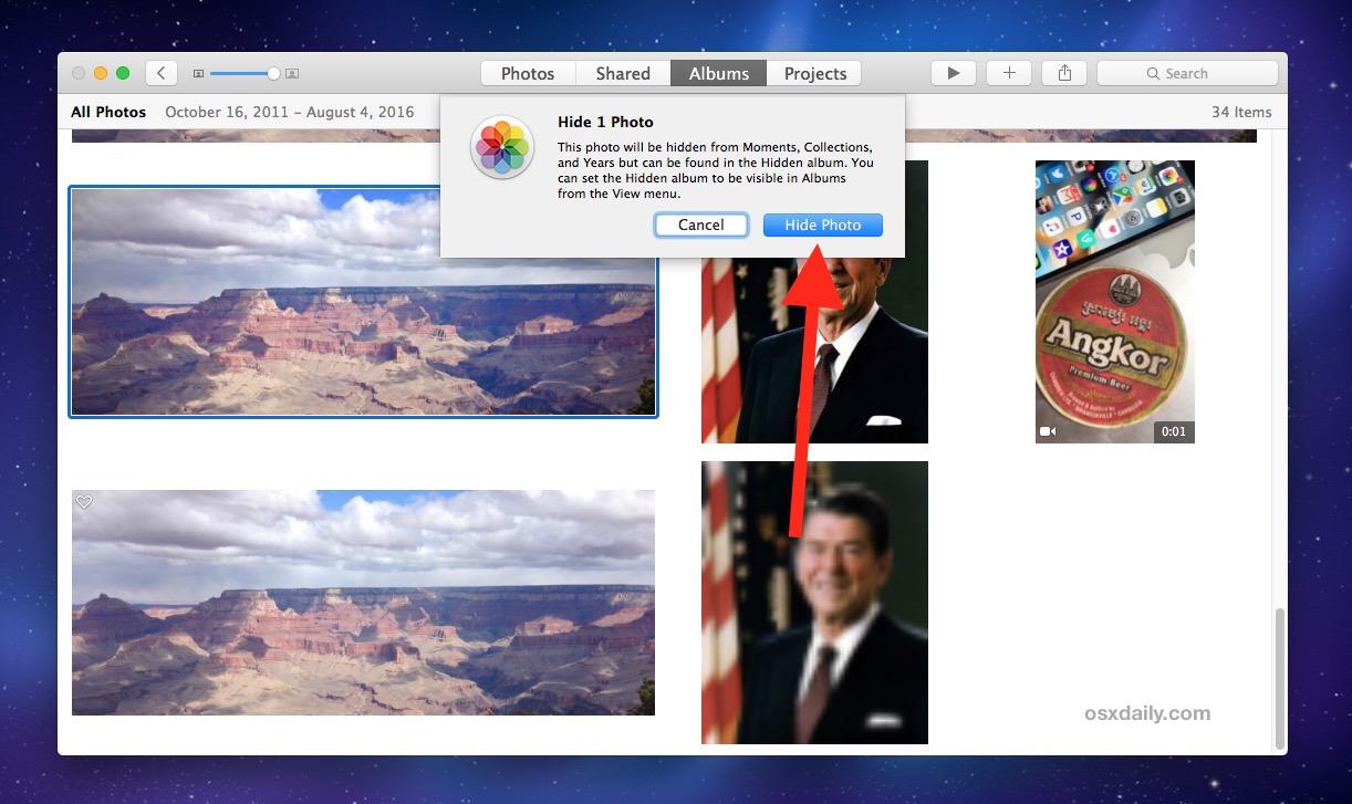 Nascondere foto su Mac