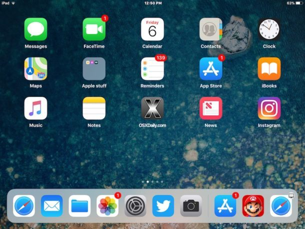 App recenti e App suggerite visibili nel Dock per iPad