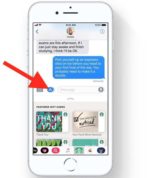 Nascondi e mostra il cassetto delle icone delle app in Messaggi per iOS 11
