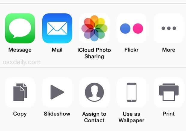 Opzioni di condivisione in iOS
