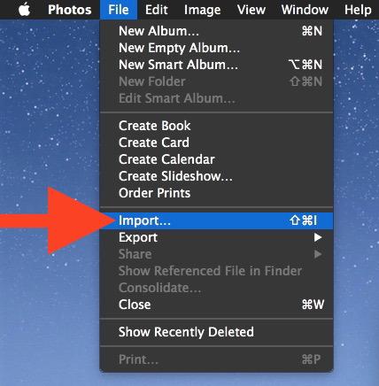 Scegli l'opzione di menu Importa nell'app Foto per OS X