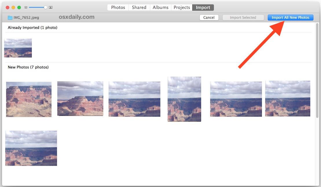 Importa tutte le nuove foto selezionate nell'app Foto in Mac OS X
