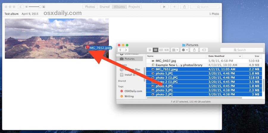 Trascina e rilascia le immagini nell'app Foto aperta per importare direttamente su un album nell'app Foto di Mac OS X.