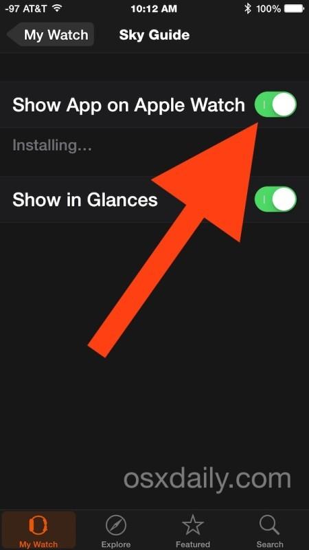 Installazione di un'app su Apple Watch da iPhone