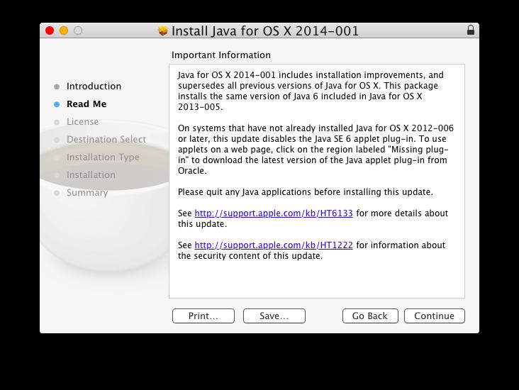 Installazione di Java in OS X Yosemite