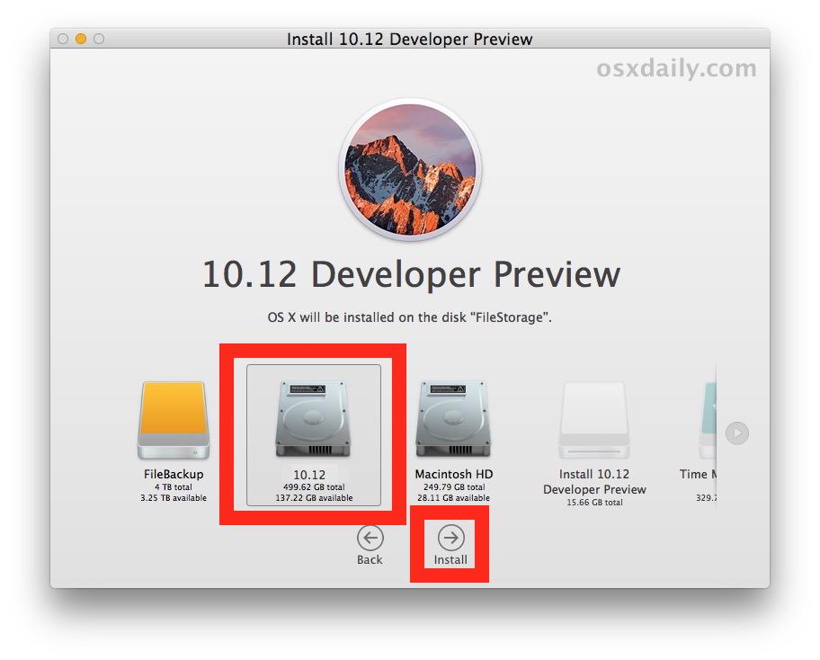 Seleziona la partizione per installare macOS Sierra